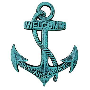 Nautical Welcome Anchor & Rope - Solid Cast Iron