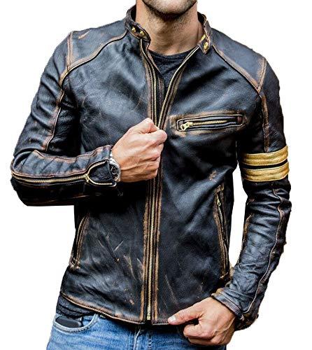 Mens Vintage Cafe Racer Retro Motorcycle Distressed Biker Leather Jacket (L - Suitable for Chest Size 40')