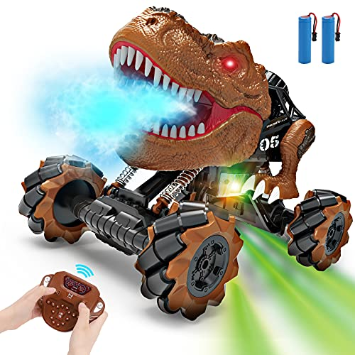 REMOKING RC Dinosaurier Auto Spielzeug, 2.4GHz 4WD High Speed RC Off-Road Auto, Dinosaurier Auto Spielzeug mit Drift-Stunt & Musik & Sprüh Wassernebel, RC Auto Spielzeug für Kinder Jugendlichen