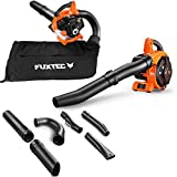 FUXTEC Petrol Leaf Hoover FX-LBS126 Leaf Blower Chopper 4in1 Function including two blowpipes and fangsack, tested upper class 1,4
