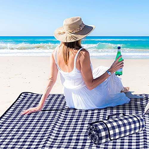Lamivia Picnic Blanket Foldable, 80''x80'' Thickened Beach Blankets with 3-Layers, Extra Large Waterproof Sandproof Machine Washable Outdoor Mat, Oversized XL for Camping, Park, Grass (Blue and White)