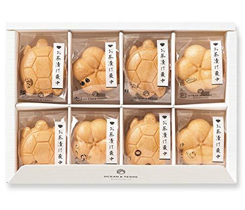 おめでたい亀と梅の形をしたお茶漬け最中8個セット【鯛、梅、鮭、たらこわさび、ちりめん山椒、ゆずこしょう各1個】【結婚式 引出物 内祝い 和風のギフト】
