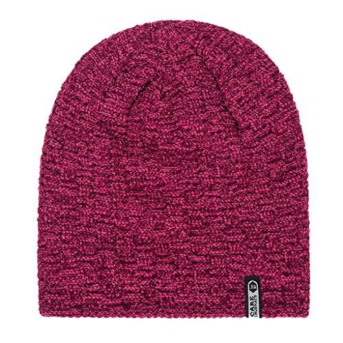 Yowablo Mode im freien männer warme mütze winter verdicken hut stricken winddicht sport cap (2Wein)