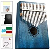 カリンバ 17キー親指ピアノ kalimba EVA高性能保護ケース マホガニーキーポータブルムビラフィンガーピアノギフト子供とピアノ初心者に適しています(明るい青)