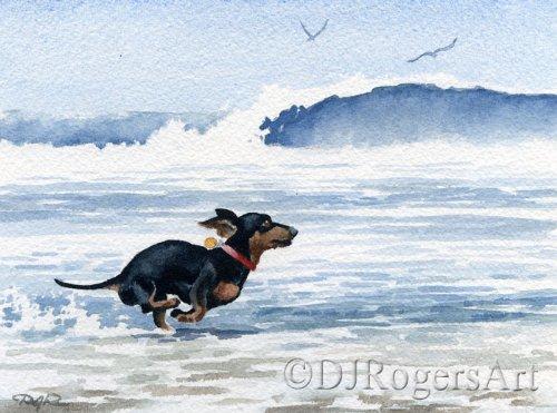 Dachshund at The Beach Art Print by Watercolor Artist DJ Rogers