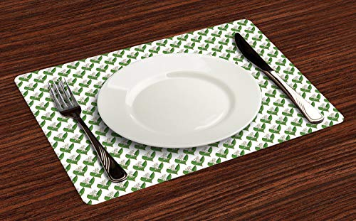 Lunarable Apothecary Place Mats Set of 4, Symmetric and Repetitive Pattern with Lily of The Valley Print, Washable Fabric Placemats for Dining Table, Standard Size, Fern Green and White