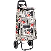 AmazonBasics - Carrito de la compra con 2 ruedas, 40 litros, diseño de patchwork