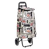 Amazon Basics Chariot de courses à 2 roulettes, 40litres, motif patchwork