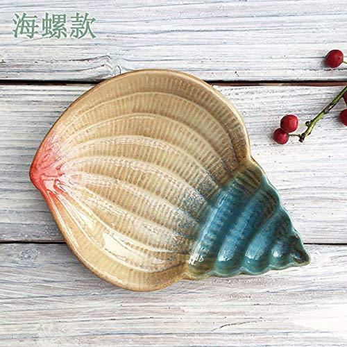 Jabonera de cerámica con diseño marino en forma de caracola
