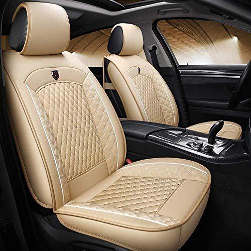 Conjuntos de cubierta de asiento de coche universal, de lujo cuero impermeable del protector del amortiguador del asiento de coche for la parte posterior del frente 5 Asientos ( Color : Beige )