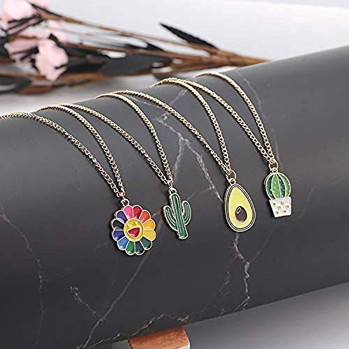 NC56 Cute Sweet Avocado Pendant Necklace Necklace for Women Girls Plant Cactus Sunflower Enamel Pendant Choker Necklaces Charm Jewelry Gifts Collares