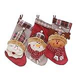 GAGP Calcetines de Navidad Bolso del muñeco de Nieve Calcetines Viejos Caramelo Conjunto Tres Piezas Medias de Navidad para Hombre y Mujer