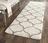 Safavieh Hudson Shag Collection SGH280A Moroccan Ogee 2-inch Thick Runner, 2' 3' x 6', Ivory/Grey