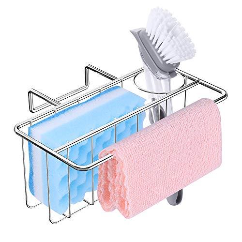 Sponge Holder for Kitchen Sink, 3-in-1 Sink Caddy, Brush, Dish Towel, Sponge Sink Organizer Liquid Drainer Rack - SUS304 Stainless Steel