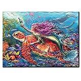 5D Diy Kit de pintura de diamantes sirena acuario diamantes de imitación mosaico bordado punto de cruz fantasía pegatina decoración de la pared del hogar arte 50x60cm