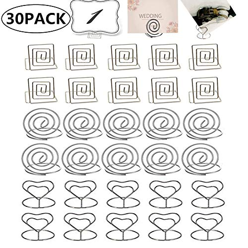 FSEARRT 【30個入】メモクリップ メモホルダー メモ/写真/名刺/カードを固定できる カードスタンド テーブル番号ホルダー 金属製 シルバー 3種類 (丸い ハート 四角形) 結婚式 記念日 パーティー オフィス レストラン用 卓上装飾