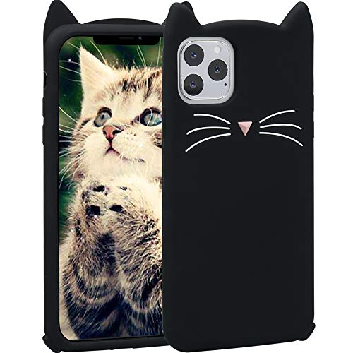 iPhone 11 Pro Max Case Cute, Fashion Girly Teen Girls Women Kid Kawaii Funny 3D Black Meow Party Cat Kitty Whiskers Dropproof Protective Soft Rubber Case Skin for Apple iPhone 11 Pro Max