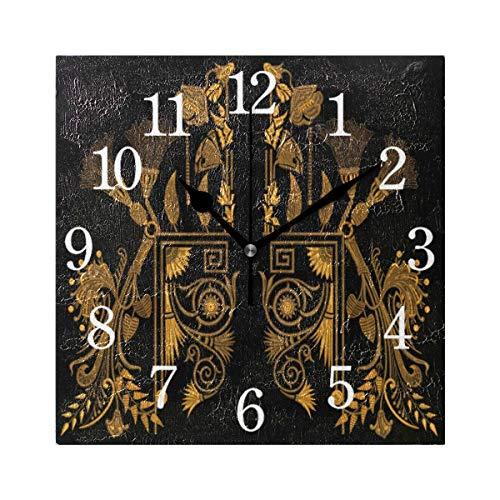 GIGIJY - Reloj de pared cuadrado, diseño étnico egipcio, silencioso, sin tictac, decoración para el hogar, sala de estar, cocina, dormitorio, escritorio, oficina, escuela