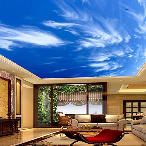 IWJAI Mural 3D Papel tapiz fotográfico Decoración de dormitorio infantil Cielo azul nubes blancas Mural de pared 3D papel tapiz moderno autoadhesivo pegatinas impermeables sala de estar TV dormitorio