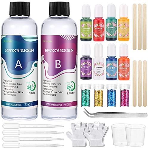 Orimath Resine Epoxy Kit Transparente 430g/400 ml, Kit Resine pour les Débutant Contient 8 Colorant Resine Epoxy, 4 Paillette, Gants, 1:1 Ratio Pour Bijoux, Objets en résine