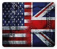 ユニオンジャックマウスパッド、アライアンストゥギャザーネステーマの構成の英国と米国の旗ヴィンテージ、長方形の滑り止めラバーマウスパッド、、ネイビーブルー