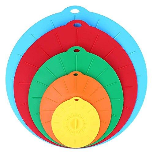 Bekith Couvercles en silicone universel à ventouse – 5 Tailles (10,2 cm 15,2 cm 20,3 cm 25,4 cm 30,5 cm) réutilisables Conservateurs d'aliments Housses pour bols, casseroles, poêles, tasses
