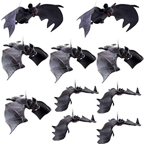 Pveath Murciélagos colgantes de goma para Halloween, murciélagos voladores, decoración de Halloween, murciélagos voladores realistas, murciélagos colgantes espeluznantes, 10 unidades, 3 tamaños