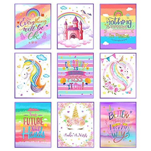 Gaosaili Unicorn Rainbow Wall Art Prints Set of 9, 10 x 8inch Unframed Inspirational Quotes Unicorn Posters Wall Art Decoration Posters for Girls Kids Bedroom Living Room Nursery Decorations
