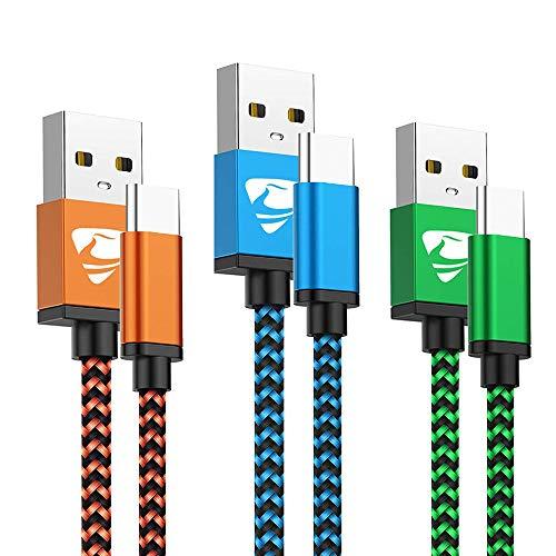 USB C Kabel Fast Ladekabel Typ C Aioneus 3Pack 2M Schnellladekabel für Samsung Galaxy S21 S20 FE S8 S9 S10 Plus S10e A12 A20E A21s A51 A50 A40 A41 A71 A70 A80 M21M31, Huawei P30 P20 P40, Sony, Redmi