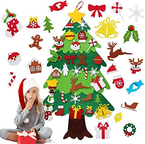 ABsuper Filz Weihnachtsbaum, 3.5ft DIY Weihnachtsbaum Mit 35 Pcs Ornamente Wand Dekor Filz Weihnachtsbaum für Kinder Weihnachten Geschenk DIY Weihnachten Set Hängend Dekor Home Tür Wand Dekoration