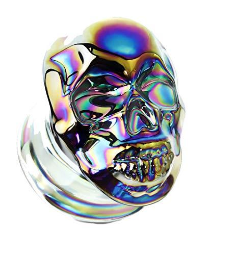 Tata Gisèle - Dilatatore doppio svasato in vetro, con teschio, biker, dettagli lisci che catturano la luce, e Acciaio inossidabile, colore: Arcobaleno, cod. 3701449000800