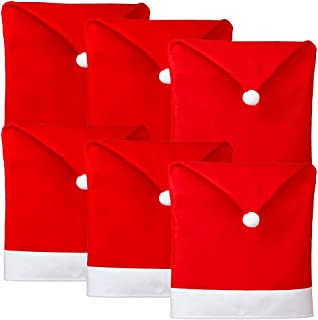 D-FantiX Christmas Chair Covers Set of 6, Santa Hat Chair Covers for Dining Room Holiday Christmas Decorations Red