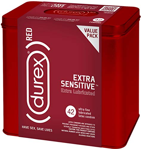 Condoms, Natural Lubricated Latex, Extra Sensitive, Ultra Fine, Durex RED 42 Count (Pack of 1), HSA Eligible