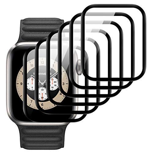 6 Pack Protector de Pantalla para Apple Watch 40mm Series 6/5/4/SE,HD-Clear Cristal Templado Película de Vidrio,TPU Flexible [Sin Burbujas] [Funda Compatible] [Sin Bordes Elevados] [Instalación Fácil]
