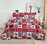 3 Piece Buffalo Plaid Moose Bear Reversible Quilt Set King,Rustic Home Lodge Pines Deer Bear Paw Bedspread Coverlet Bedding Set Buffalo Check Woodland Blanket for All Season (King,Red)