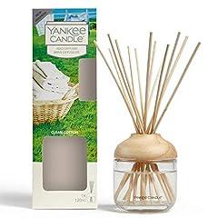 Idea Regalo - YANKEE CANDLE Diffusore di Aroma a Bastoncini, Cotone Pulito, 120 ml, Durata della fragranza: Fino a 10 Settimane