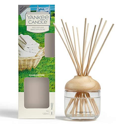YANKEE CANDLE Diffusore di Aroma a Bastoncini, Cotone Pulito, 120 ml, Durata della fragranza: Fino a 10 Settimane