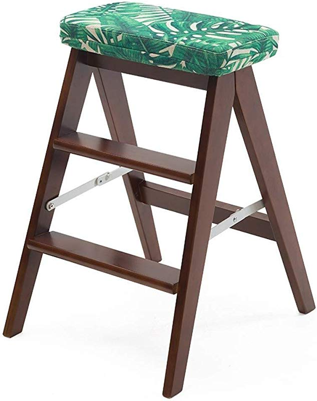 Carl Artbay Wooden Footstool Folding Solid Wood Creative Simple Folding Ladder Kitchen Portable Folding Chair Home Bench Beautiful And Stable Home Color Green