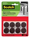 Scotch Mounting, Fastening & Surface Protection SP822-NA Scotch Brand 3M, Round, 1 in. Diameter, Brown, 32/Pack Felt Pads, Count
