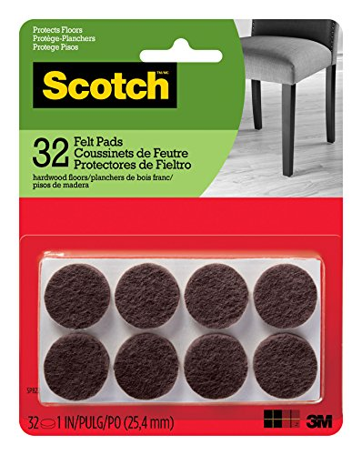 Scotch Brand Felt Pads, Premium Quality, By 3M, Great for protecting linoleum floors, Round, 1 in. Diameter, Brown, 32/Pack