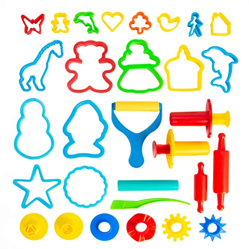 KIDDY DOUGH Air Dry Clay & Dough Tool Kit for Kids - Party Pack w/Animal Shapes - Includes 24 Colorful Cutters, Molds, Rollers & Play Accessories