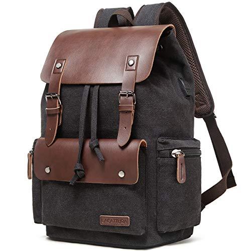 Lacattura Vintage Leather Backpack for Men and Women, Canvas School Bookbag College Travel Laptop Rucksack Vegan Daypack
