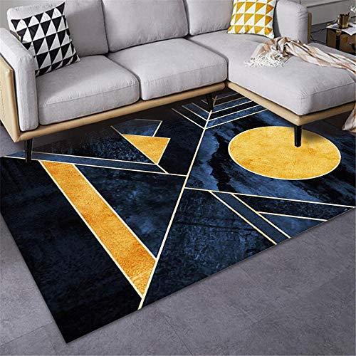 Jiaosa Rug For Bedrooms yellow Carpet Salon Yellow Dark Blue Geometric Pattern Anti-Slip Carpet Durable Xl Rug 80X160CM Carpet Small 2ft 7.5''X5ft 3''