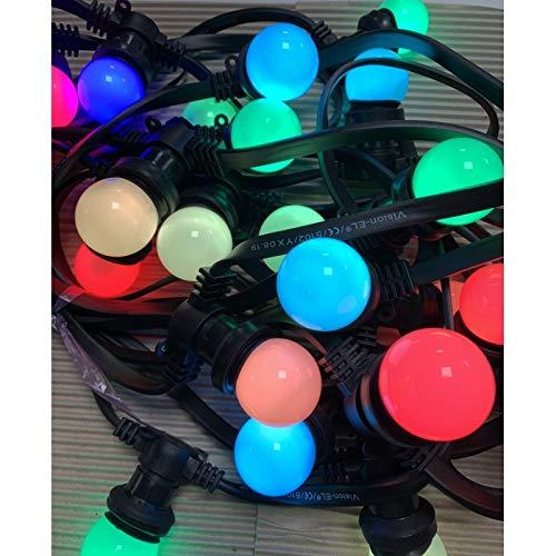 Rêvenergie - [Guirlande Guinguette 10m 20 Ampoules B22 chainable étanche Ampoules RGB Changement Automatique de Couleur