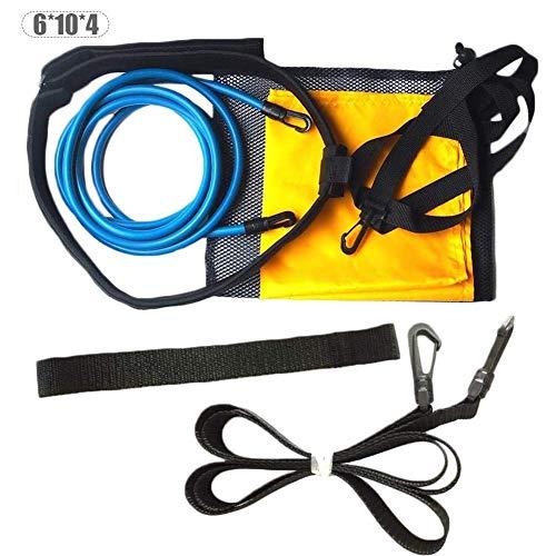 ZHANGLE Elektrostatischer Schwimmgürtel mit Schleppfallschirm und elastischem Haltegurt für stationäres Krafttraining/Endless Pool Adult Kid