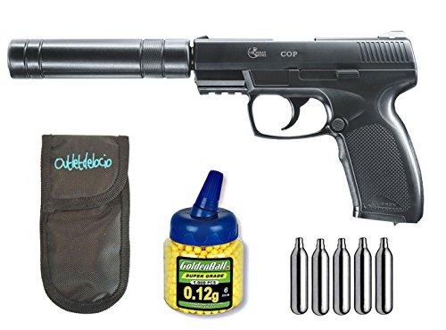 Outletdelocio. Pack Pistola Airsoft Umarex U25958. Combat Cop SK. Calibre 6mm. + Funda Portabalines + 1000 Bolas + bombonas Co2. 23054/21993/29318