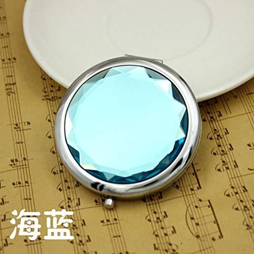 LinZX Maquillaje Espejo Plegable portátil Espejo de Maquillaje Compacto Round Up Oro Plata Espejo Compacto para el Regalo,Sea Blue