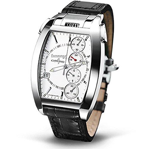 Eberhard & Co. Chrono 4 Temerario horloge horloge automaat roestvrij stalen behuizing lederen armband