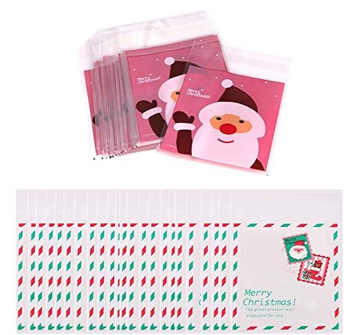 kungfu Mall 200pcs Paquete de Dulces de Galletas de Navidad Paquete de Galletas Dulces Autoadhesivas Bolsas de Regalo Decoración Embalaje