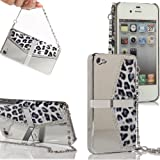 sumaccn Silver Luxury Leopard Chrome Stand Case Cover with Hand Catenary for Apple iPhone 5s, iPhone 5, iPhone SE